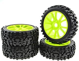 JIUWU 4PCS Green RC 1:8 Scale Double 6 Spoke Wheel Rims Rubber Tires Off Road Buggy Parts