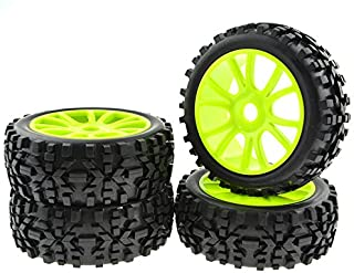JIUWU 4PCS Green RC 1:8 Scale Double 6 Spoke Wheel Rims Rubber Tires Off Road Buggy Parts