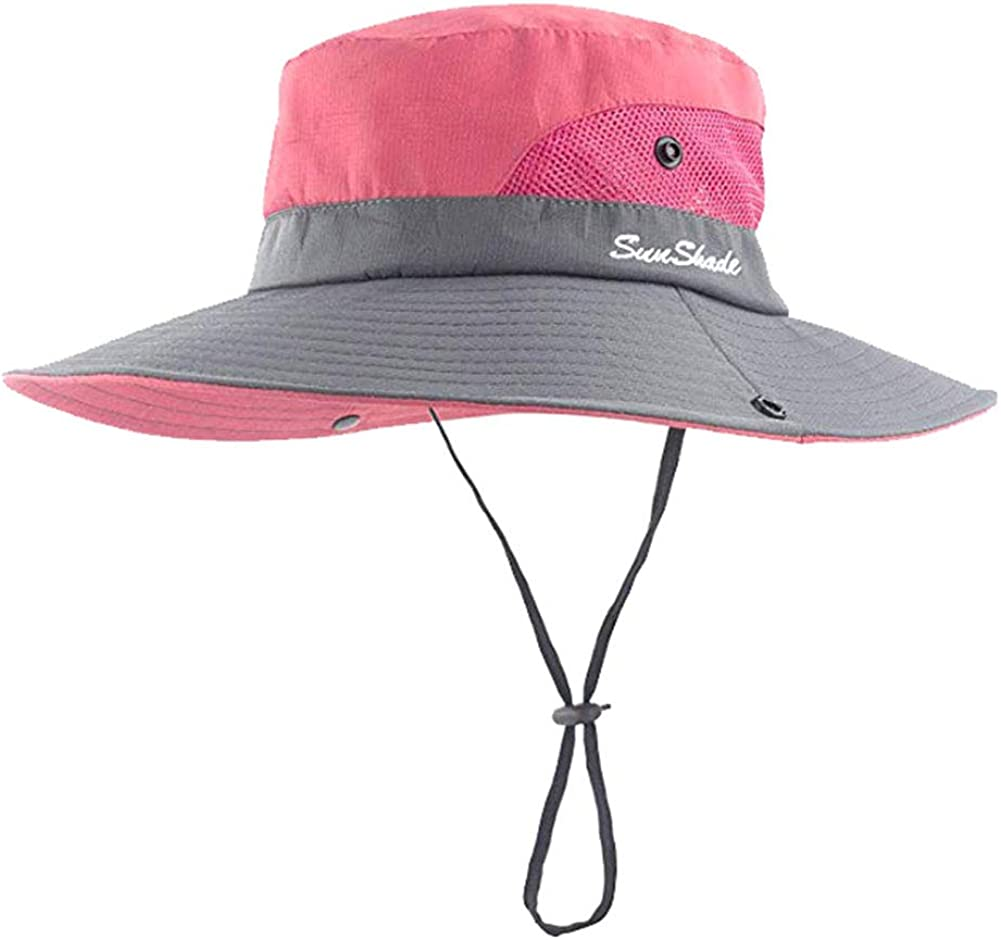Women's Summer Sun Hat Wide Brim UV Protection Foldable Mesh Beach Fishing Hunting Cap