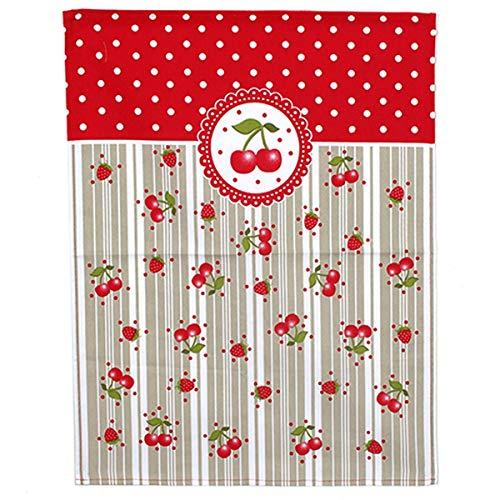 Les Trésors De Lily [A0255 - Torchon Coton 'Cerises' Rouge Taupe - 60x45 cm