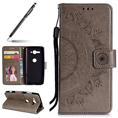 Uposao Kompatibel mit Sony Xperia XZ2 Compact Handytasche Mandala Blumen Muster Handy Hüllen Flip Hülle Cover Schutzhülle Ledertasche Wallet Lederhülle Etui Bookstyle Klapphülle,Grau