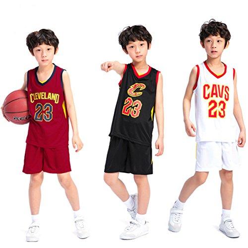 unbrand Ragazzi Cleveland Cavaliers Lebron James # 23 Pantaloncini da Basket Maglie estive Completo da Basket Top e Shorts