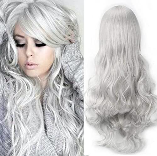 """32 """"Peluca de pelo completo de plata rizada larga con flequillo Anime Cosplay disfraz de Halloween pelucas sintéticas para mujeres niñas"""