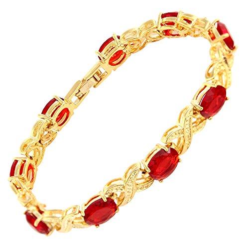 RIVA XOXO Verbindung Tennis Armband [18cm/7inch] mit Ovalschliff Edelstein Zirkonia CZ [Rot Rubin] in 18K Gelbgold Vergoldet, Einfache Moderne Eleganz