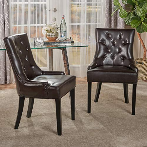 Christopher Knight Home Hayden Tufted Brown Leather Dining Chairs, 2-Pcs Set, Brown