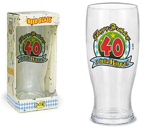 BICCHIERE BIRRA 40 ANNI Gadget stampato idea regalo festa 40° Compleanno