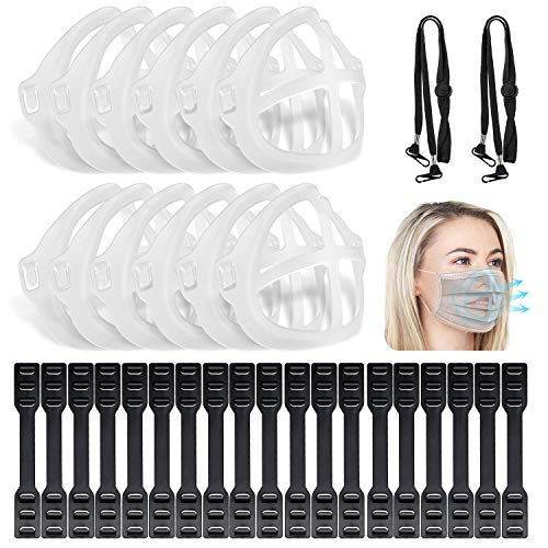 Homesprit Strap Extender 12 PCS Reusable 3D Face Nose Mouth Bracket to Increase Space and 50 PCS Adjustable Strap Extender Non-Slip Ear Saver Strap Extension Ear Hook