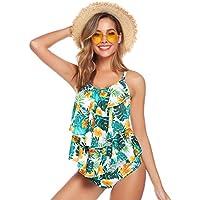 Hawiton Tankini para Mujer Traje de Ba/ño de Dos Piezas Tirantes Ajustables Tops Tankini con Breifs Dise/ño de Flores Ba/ñadores para Playa Vacaciones Piscina