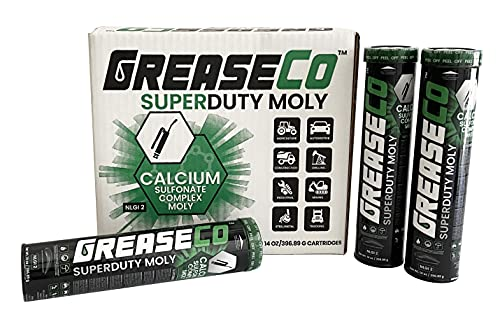 GREASECO Calcium Sulfoante Moly Grease Tube Cartridges - 10 Pack of 14 OZ Grease Cartridges - SuperDuty Moly