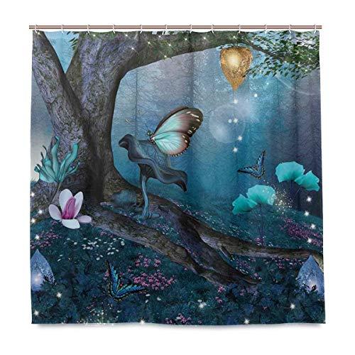 DYCBNESS Duschvorhang,Zauberwald mit blühenden Blumen Mystical Environment Woods,Vorhang Waschbar Langhaltig Hochwertig Bad Vorhang Polyester Stoff Wasserdichtes Design,mit Haken 180x180cm