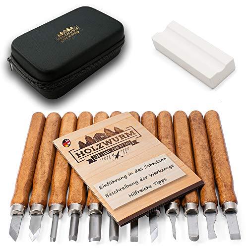 HOLZWURM Holz-Schnitzwerkzeug Set 12-tlg, inkl. Tasche, Anleitung & Abziehstein, ideales Schnitzmesser-Set für Anfänger und Profis…