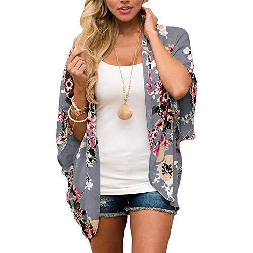 YYH Vrouwen Vest Chiffon Losse Sjaal - Bloemen Cover Up Chiffon Print Kimono Strandkleding Zomer Casual Blouse Zwemkleding Cardigan Badpak S C