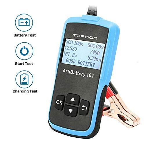 TOPDON AB101 Autobatterie-Tester-12V 6V 100-2000 CCA für Kfz PKW SUV Kleinlaster leicht LKW Motorrad etc. Batterietester-Kfz mit LCD Display, DEUTSCH inkls. DE Handbuch