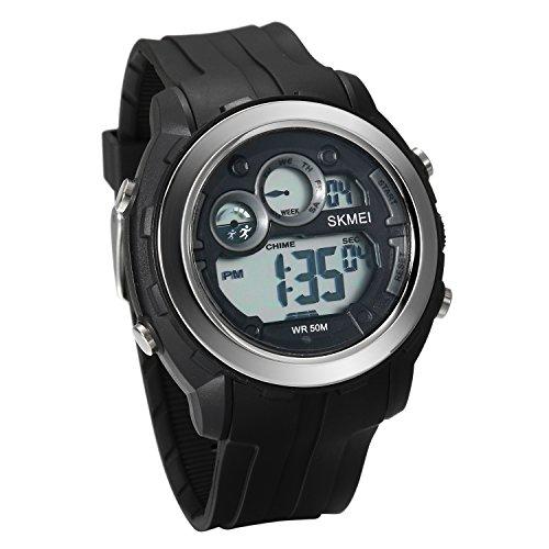 JewelryWe Herren Uhren 50m wasserdichte Armbanduhr Sport-Uhren Digitaluhr mit Wecker, Kalender und Stoppuhr (schwarz)