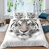 Erosebridal Kids Tiger Comforter Cover Wild Animal Print Bedding Set for Boys Girls Teens Adult Grey and White Bedspread Cover Brushed Bed Accessories King Size 1 Duvet Cover with 2 Pillow Cases