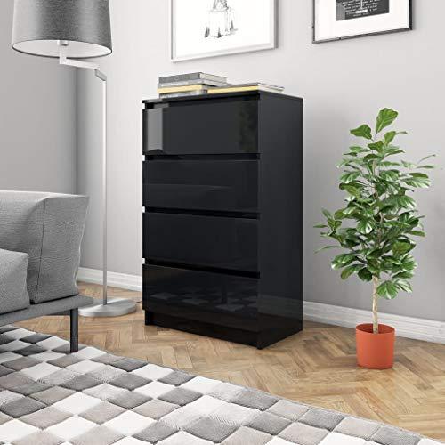 vidaXL Dressoir 60x35x98,5 cm spaanplaat hoogglans zwart
