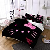 Yumhi Hello Kitty Duvet Cover Set, 3 Piece Game Movie Bed Set Bedding Including 1 Duvet Cover and 2 Pillowcases Full Size