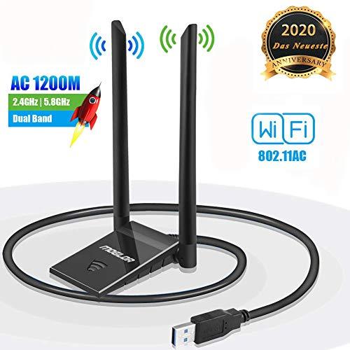 Suerte WiFi Dongle USB Antennenadapter für PC Wireless AC 1200 Mbit/s 5 GHz / 867 Mbit/s 2,4 GHz / 300 Mbit/s Dualband 5 dBi Netzwerk Windows XP/Vista / 7/8/10 Mac OS mit Verlängerungskabel