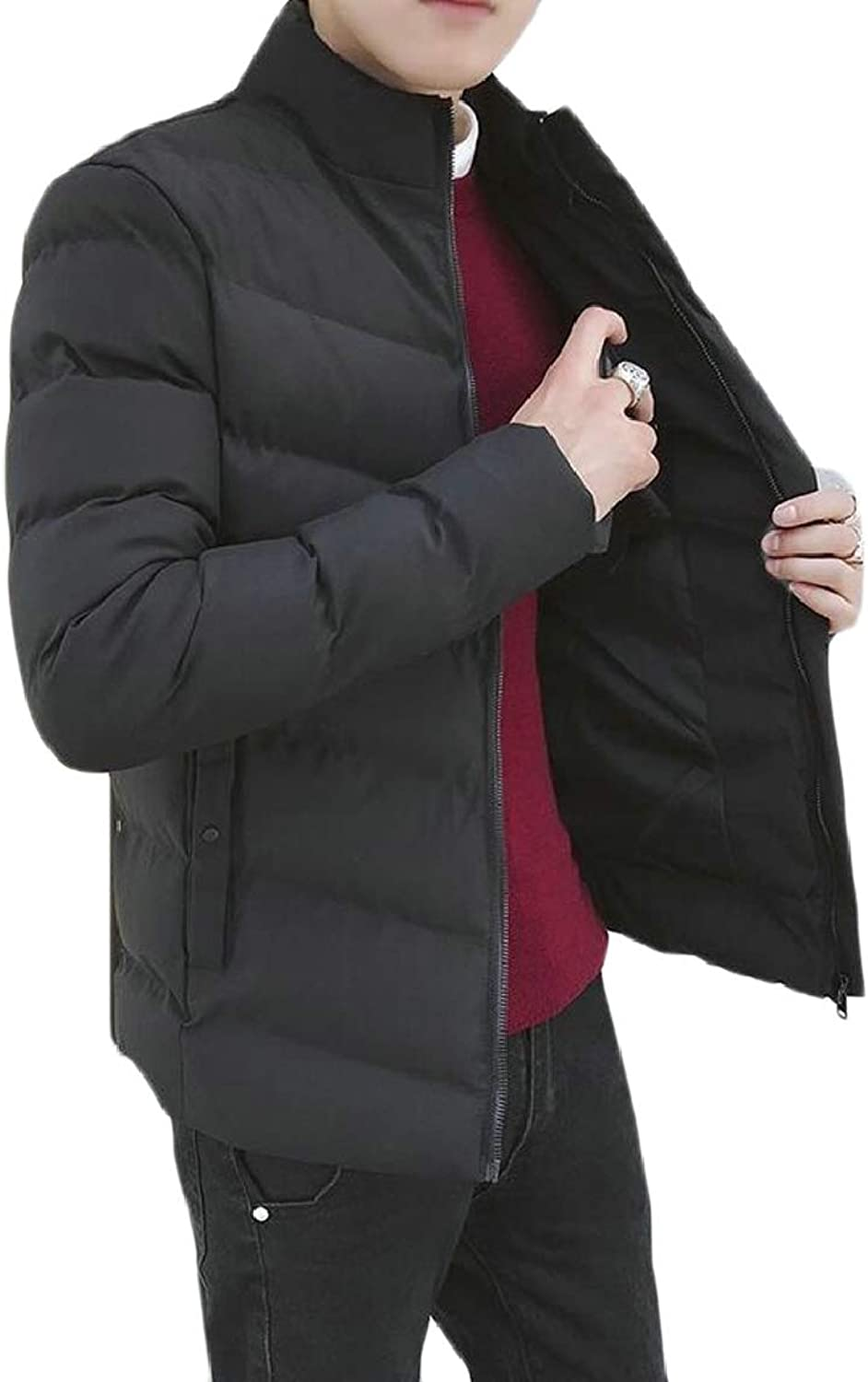 - RG-CA RG-CA RG-CA Mens Winter Warm Zip up Thick Solid Jacket Coat Quilted Jacket f5718a