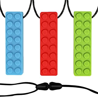 JJGoo Kids Chew Necklace for Sensory Boys Grils Adult, 3 Pack Silicone Chewy Tubes Bundle Oral Motor Autism Teething Toy Necklace