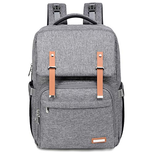 Changing Bag Backpack, RUVALINO Large Unisex Baby Bags for Boys and Girls Waterproof Nappy Back Pack Stylish for Mom and Dad with Changing Mat, Stroller Straps (Grey)