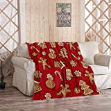 Tcoapy Gingerbread Christmas Throw Blanket Gingerbread Christmas Cookie Sherpa Fleece Bedding Bedspread Flannel Warm Microfiber Sofa Blanket Couch Bed 40' x 50'