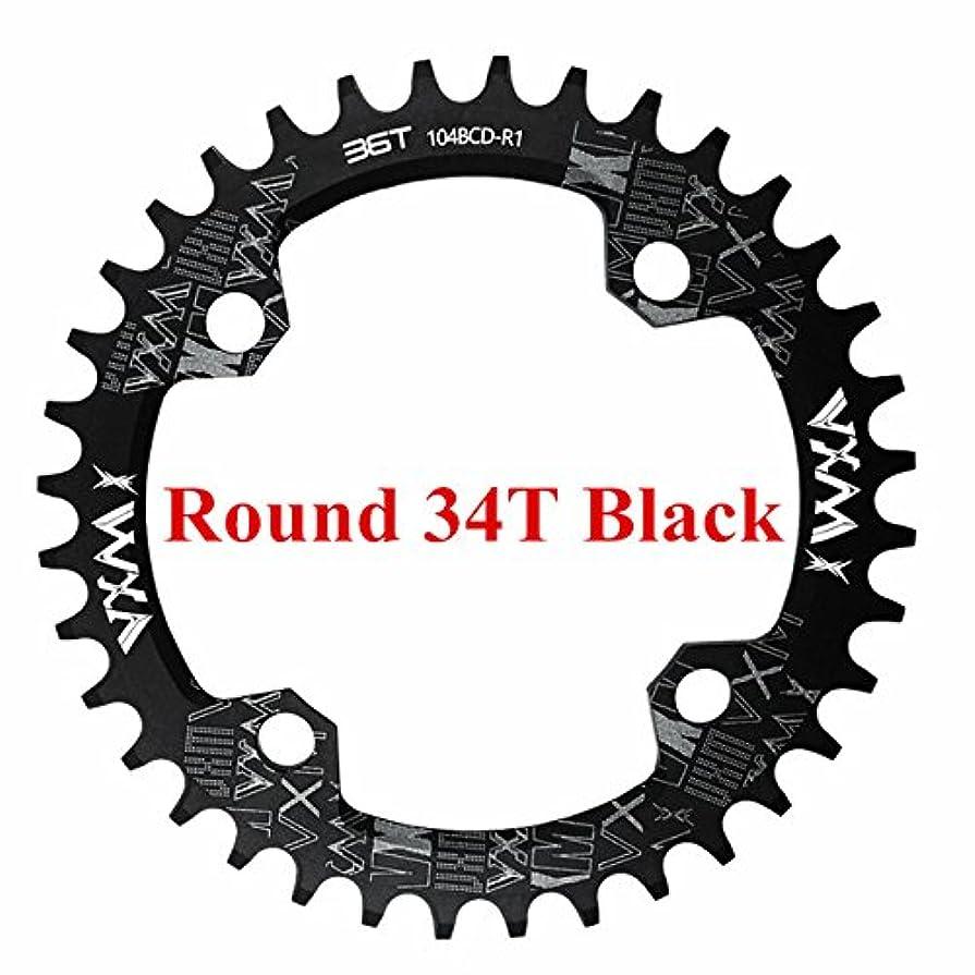 抑制するさておきマーベルPropenary - 自転車104BCDクランクオーバルラウンド30T 32T 34T 36T 38T 40T 42T 44T 46T 48T 50T 52TチェーンホイールXT狭い広い自転車チェーンリング[ラウンド34Tブラック]