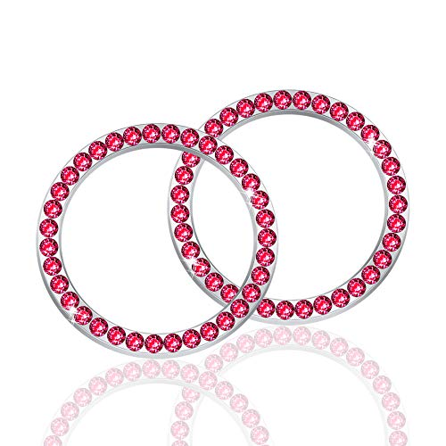 LivTee 2 PCS Crystal Rhinestone Car Engine Start Stop Decoration Ring, Bling car Accessories, Push to Start Button, Key Ignition & Knob Bling Ring, Red