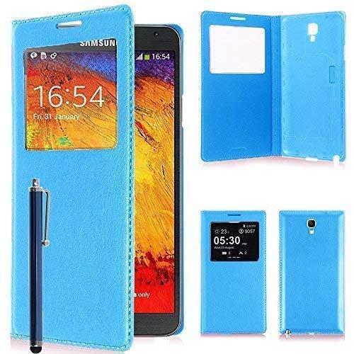 VCOMP Custodia Cover Guscio sportellino Vista Compatibile con Samsung Galaxy Note 3 Neo/Lite Duos 3G LTE SM-N750 SM-N7505 SM-N7502 - Blu + Pennino