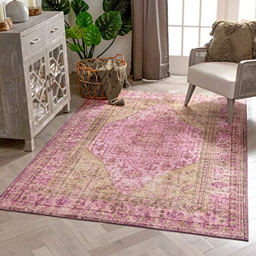 Well Woven Overdyed Helode Machine Washable Pink Vintage Oriental Medallion Area Rug 8x10 (7'7