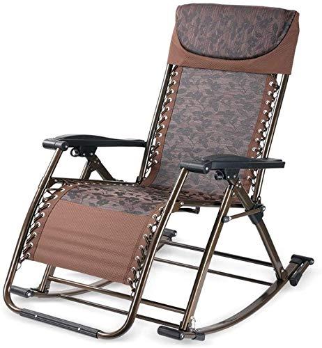 BATOWE Liegestuhl Faltbare Lounge Chair Gravity Stuhl zusammenklappbare Recliners Multifunktionsschaukelstuhl Gesundheit Stuhl-Wohnzimmer-Dual-Use-Stuhl Büro Camping Sessel (Color : Brown)