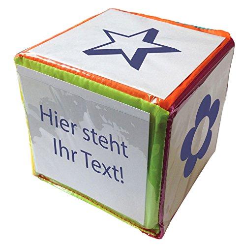 TimeTEX Blanko-Würfel - Großer bunter Würfel mit Einstecktaschen zur freien Gestaltung - 15 cm Seitenkante - 93584
