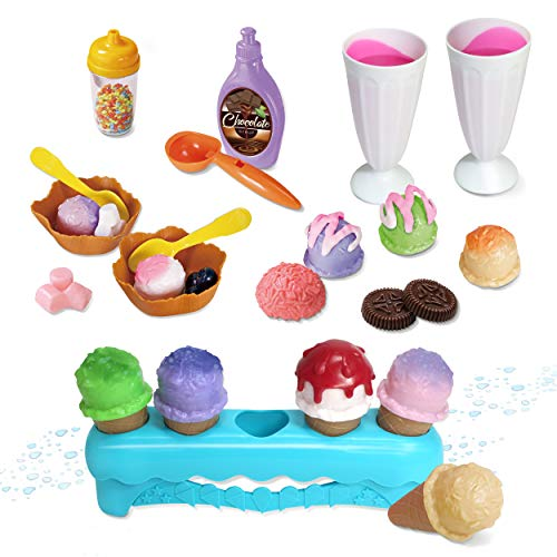 Kidzlane Ice Cream Playset | 34 Piece Ice Cream Toy Set with Color Changing Scoops & Toppings | Pretend Play Food Toy for Kids and Toddlers Ages 3+
