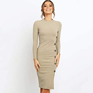 HUJUNG Ladies Dress, Long Sleeves Solid Color, Round Tie Button Lady Dress, Suitable for Spring Summer Fall