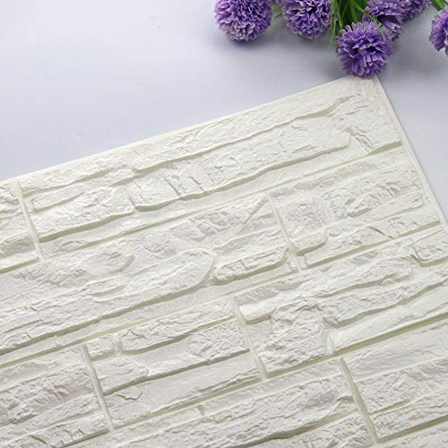 JiaMeng Pegatina de Pared, DIY 3D ladrillo PE Espuma Wallpaper Panels Room Decal Stone decoración en Relieve