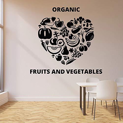 HFDHFH Calcomanía de Pared de corazón, Frutas orgánicas, Vegetales, Comida, Catering, Comer Sano, Vinilo, Pegatina para Ventana, Cocina, Restaurante, decoración, Mural