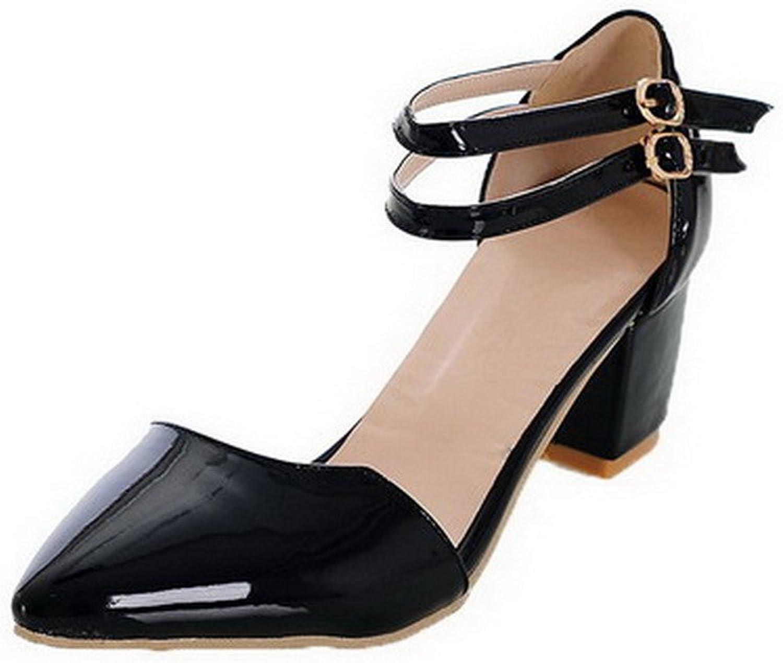 AmoonyFashion Women's Buckle Closed Toe Kitten-Heels Solid Sandals
