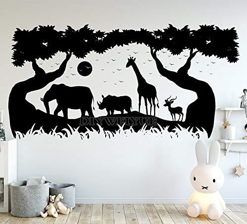 WSYYW Wildlife Park Wall Decals Wildlife Pattern Nursery Decor Vinyl Wall Stickers for Kids Room Nursery Decoration Wallpaper A2 113X57cm