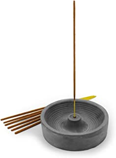 Slice of Goodness Grey Cement Incense Holder Circular - Modern Minimal Design with Upright Burner and Fountain Shape Interior - Incense Sticks Not Included - for 2mm Incense Sticks