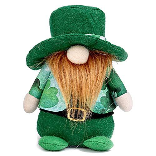 Riky Irish Festival Faceless Dolls,Handmade For St. Patrick's Day,Valentines Day Party Ornaments Decorations Green Hat Elf With Braids(Beard)