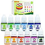 Food Coloring - 12 Color Vibrant Cake Food Coloring Set for Baking, Decorating, Fondant and Cooking - Upgraded Liquid...