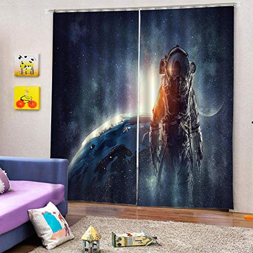 zpangg Black Out Window Cover Brave Astronaut Blackout For Children Bedroom Eyelet Thermal Insulated Room Darkening Curtains For Nursery Living Room Bedroom 220×215Cm