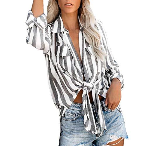 Writtian – Camiseta de verano para mujer, con botones de 3/7, manga corta, casual, con bolsillo