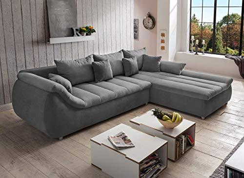 lifestyle4living – Sofá de Esquina tapizado en Tela Gris, Paisaje con Acolchado de Espuma de Olas y Espuma de poliéster, sofá con función de sueño y cojín