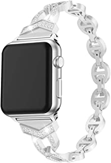 Women's Watchband Replacement Compatible for Apple Watch Series 1/2/3/4, Stainless Steel, Jewelry Decor, Adjustable