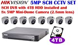 Hikvision 5MP 8CH Turbo HD Analog CCTV System: 8CH DVR with 4TB HDD Installed and 5MP IR 2.8mm Lens Outdoor Mini-Dome Camera x8