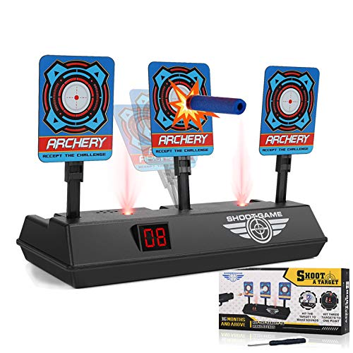 Electronic Shooting Target for Nerf Guns, Auto Reset Digital Scoring Targets for Shooting for Kids, Ideal Toys for 3 4 5 6 7 8 9 10+ Year Old Boys and Girls, Stocking Stuffers for Kids