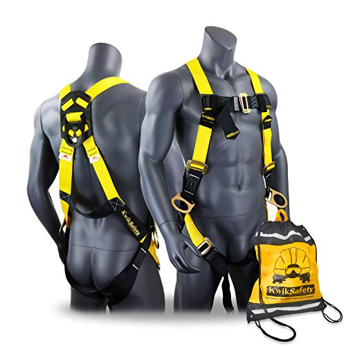 KwikSafety (Charlotte, NC) THUNDER 3D Ring Safety Harness (Pass Through Connectors) OSHA ANSI Industrial Full Body Fall Protection Personal Equipment Construction Carpenter Scaffold Contractor