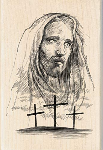 Inkadinkado Jesus Cross Wood Religious Mounted Rubber Stamp for Card Making and Scrapbooking, 1pc, 4.02''L x 2.77''W