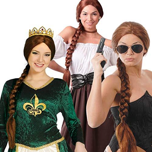 NET TOYS Peluca de Lara Croft con Trenza Larga - Marrn - Moderno Accesorio de Disfraz de Dama Peluca de Carnaval superherona - El Punto Alto para Carnaval y Fiesta temtica